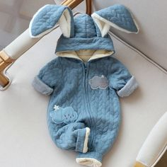 Baby Rompers 2016 Winter Style Overalls Cotton Newborn Baby Boys Girls Clothes Rabbit Ear Jumpsuit Long Sleeve Hooded Outfits
