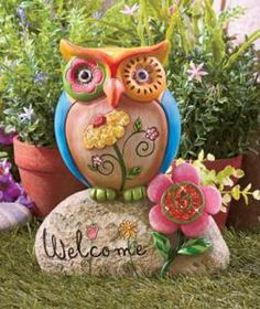 #613229012 Welcoming Owl Statue Garden Decor by sensationaltreasures