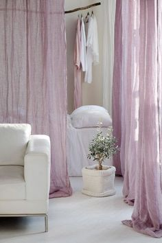 Pure linen curtains Canopy over the bed, Linen curtain panel, Light and transparent linen muslin in navy blue