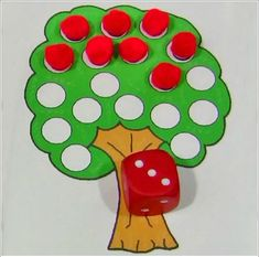 Apple Roll and Pick . one of our favorite math activities for our apple unit. by bertha Preschool Apple Activities, Preschool Apple Theme, Fall Preschool, Preschool Lessons, Autumn Activities, Preschool Learning, In Kindergarten, Preschool Activities, Preschool Apples