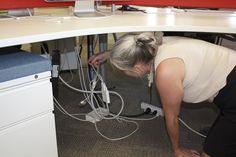 Never Crawl Under Your Desk Again Cord Organization, Maze, Desk, Desktop, Table Desk, Labyrinths, Office Desk, Desk Office, Writing Bureau
