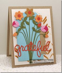 Burlap Background, Thankful Thoughts, Fresh Cut Flowers Die-namics, Pierced Traditional Tag STAX Die-namics, Sentiment Strips Die-namics, Scattered Bars Stencil - Barbara Anders #mftstamps
