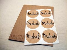 30 Mahalo Thanks Round Stickers Circle Labels by OnceUponSupplies, $9.00