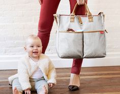 Make this striped carryall your diaper bag.