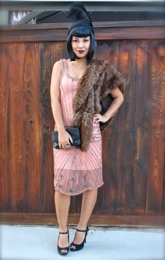 { The Gatsby Dress c/o Electric Frenchie | Forever21 Faux Fur Stole | Joey Pumps (very old) | Forever21 Head Band | Vintage Chanel Clutch | ...