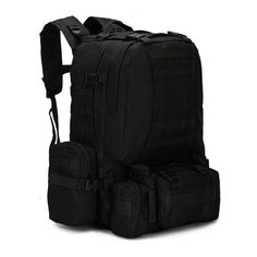 f5b5fe4fc78 4 In 1 50L Molle Tactical Military Backpack, 600D Nylon Camping Hiking  Backpack,