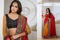 Superb Designer Party wear Red and Orange Georgette Saree with Crape Jacquard Pallu and Contrast matching Banarasi Netted Blouse. Heavy work en-crafted all over.
