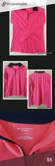 Tek Gear Drytek Pullover Drytek moisture wicking technology. Bright pink, semi-fitted, thumbholes, poly/spandex. Great for cool-weather workouts or traveling to and from the gym. tek gear Tops Sweatshirts & Hoodies