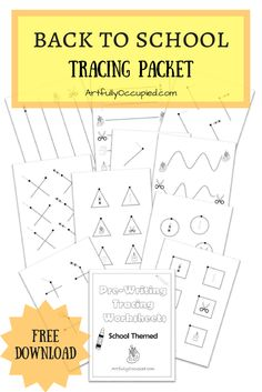 Back to School Tracing Packet | Pre Writing Activities | Pre Writing Worksheets | Preschool & Elementary Ideas | Occupational Therapy for Kids | Pediatric Worksheets