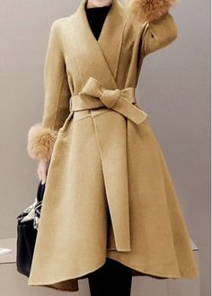 Faux Fur Cuffs Asymmetric Hem Belted Khaki Coat on at Rosewe.com