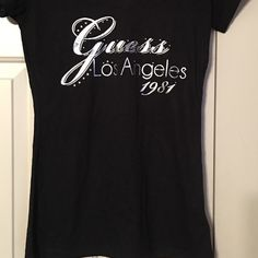 Guess t-shirt Black guess t-shirt with silver lettering and embellished with rhinestones. Guess Tops Tees - Short Sleeve