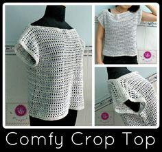 Free Crochet Pattern: Comfy Crop Top. http://www.allfreecrochet.com/Tops/Comfy-Crochet-Crop-Top