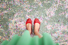 I have a thing for sparkly red shoes and these are particularly amazing. And with the teal skirt? Perfection.
