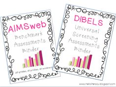 AIMSweb or DIBELS assessment binders insert sets....to stay ORGANIZED with #RTI universal screenings.