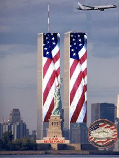Twin Towers sept 11 september 11 never forget patrotic usa twin towers in memory 11 September 2001, Remembering September 11th, Remembering 911, I Love America, God Bless America, America America, American Flag, American History, American Pride