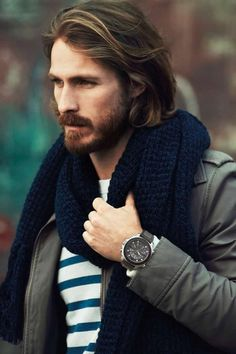 Style Homme. Men, well dressed. Nautical stripes and watch, chunky navy scarf, perfect balance of tidy-messy grooming.