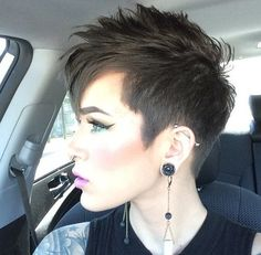 You may see here the wonderful ideas of undercut short pixie haircuts for women and girls to show off right now. This is one of the best styles among all the short pixie haircuts in year the Rest] Pixie Cut With Undercut, Short Pixie Haircuts, Short Hair Cuts, Short Hair Styles, Punk Pixie Haircut, Short Undercut, Haircut Short, Short Punk Hair, Curly Short