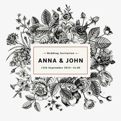 Flower sketch, Hand-painted Flowers, Wedding Invitation Card PNG Image