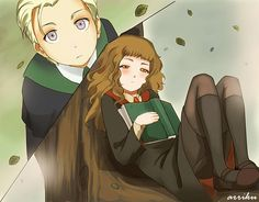 Draco & Hermione Artwork by arriku...because you can't resist cute girls reading in trees