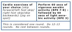 Skipping Vigorous-Aerobic Routine. Do as long as you like. (In bouts of 10 min's or more according to Worldwide Public Health Guidelines) This template is for a 25min vigorous-aerobic workout.