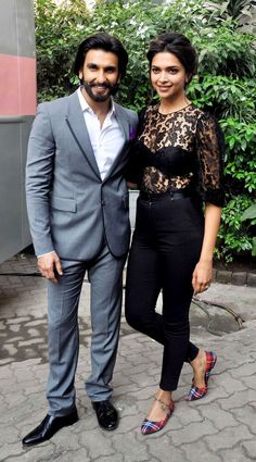 Ranveer Singh & Deepika Padukone during 'Ram-Leela' promotions. #Bollywood #Fashion #Style #Beauty