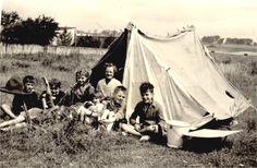 """Children campground - Camping sous la tente - """"fait maison""""..en 1960 - route de Boulogne, étaples-sur-mer, Pas-de-Calais, France."""