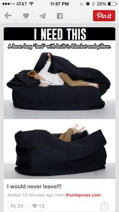 My Life Really Needs This. I have a bean bag chair. I place it in front of my t. But my room is freezing and I got a leather bean bag chair. So this would be perfect! Bean Bag Bed, Cool Inventions, Looks Cool, My New Room, My Dream Home, Cool Furniture, Furniture Stores, Must Haves, Cool Things To Buy
