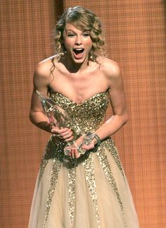 The Fearless singer's surprise was well-earned at the 43rd Annual Country Music Association Awards, where she became, at 19, the youngest artist ever to be nominated for, and win, the Entertainer of the Year honor. #TaylorSwift