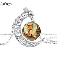 Fashion moon Animal necklace Glass jewelry Fox Necklace Woodland Creature Watercolor Art Pendant For Necklace Sliver women gift