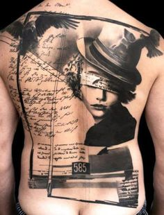 Antic picture as tatoo scheme with frame. Amazing skills.