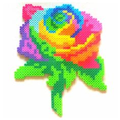 Colorful rose perler beads by drayy