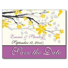 Yellow blossoms purple wedding Save the Date Post Cards