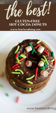These gluten free hot chocolate donuts make a great winter dessert or snack. Full of cocoa flavors, topped with mini marshmallows. fearlessdining Gluten Free Chocolate Cake, Chocolate Donuts, Chocolate Desserts, Hot Chocolate, Best Gluten Free Desserts, Easy Desserts, Dessert Recipes, Donut Recipes, Pudding Recipes