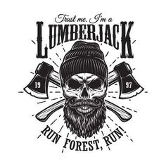 Vintage hipster lumberjack emblem with crossed axes behind the skull in beanie, with beard and moustache. Sunburst on background. Monochrome, isolated on white background.