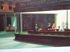 Edward Hopper- Nighthawks (1942) Doordat het buiten donker is en de mensen in een fel verlichte ruimte zitten kijk je vanaf buiten als een voyeur mee. Hierdoor zorgt het licht donker contrast voor spanning in het schilderij.