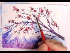 How to Paint a Cherry Blossom Tree - Sakura and Mount Fuji - Step by step Watercolor tutorial - YouTube