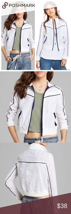 Free People Eyelet Track Jacket White Eyelet with navy blue trim. Size small. Zip up jacket Free People Jackets & Coats
