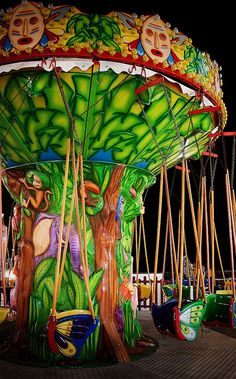 Not a typical merry-go-round, this is a chair swing kind of carousel in Spain, with bright colors to delight everyone.