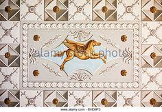 Ceiling fresco painting of Pegasus in the 'Roman House', a UNESCO world heritage _BM Two Horses, European Languages, Stone Carving, Art Club, Arabesque, Wall Prints, Fresco, Wall Murals, Roman