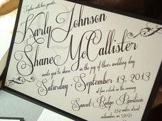 Art Deco Pocket Fold Belly Band Wedding Invitation with Rhinestone Accents - Sample
