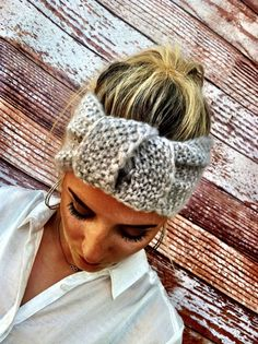 Knotted Headband Knitted Turband Mohair Ear Warmer in Soft Gray. $28.00, via Etsy.