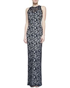 Sleeveless Jewel-Neck Lace Column Gown, Navy/Ivy by Tadashi Shoji at Neiman Marcus.