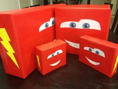 Clever gift wrapping idea for a Disney Cars birthday party. See more birthday parties for kids at www.one-stop-party-ideas.com