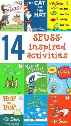 Variety of fun Dr. Seuss crafts and learning activities for classroom or home.