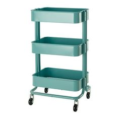 "IKEA - RASKOG Kitchen cart, turquoise, Raskog Metal Rolling bedroom hall by Ikea. $92.02. The sturdy construction and four casters make it easy for you to move the cart and use it wherever you like. It even fits in tight spaces because of its small size.. The adjustable middle section is easy to move to adapt to different storage needs.. For maximum quality, re-tighten the screws about two weeks after assembly.. Length: 13 3/4 "" Width: 17 3/4 "" Height: 30 3/4 "". You..."