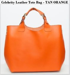 Celebrity Leather Tote Bag -TAN ORANGE | Celebrity Tote Bags ...