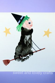sweet and lovely crafts: footprint flying witch