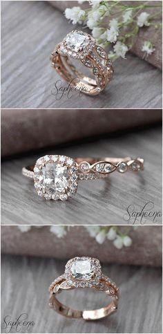 Set of 2, Brilliant Cushion Cut Engagement Ring with Art Deco band in 14k Rose Gold, Stacking, Bridal Set, Wedding Ring Band Set by Sapheena #diamondringsengagement