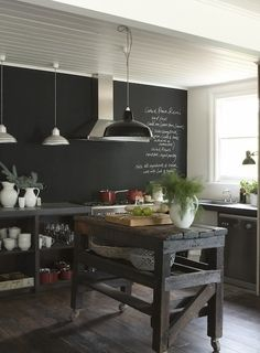 love this rustic island. I could make a narrow one on industrial casters from Northern tool and supply. Use a barn board for the top and the width would be perfect. KITCHEN or CRAFT ROOM ~ EXTRA MOBILE WORKTOP SPACE ?