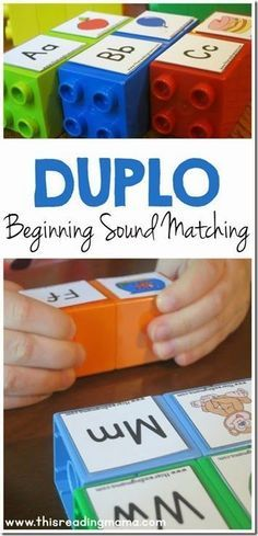 Sound Matching LEGO Game - great activity for preschool, kindergarten for alphabet letter sounds in homeschool. This could easily be adapted to work on phonemic awareness too! Preschool Letters, Learning Letters, Kindergarten Literacy, Preschool Learning, Fun Learning, Learning Spanish, Alphabet Games For Kindergarten, Teaching Letter Sounds, Preschool Printables